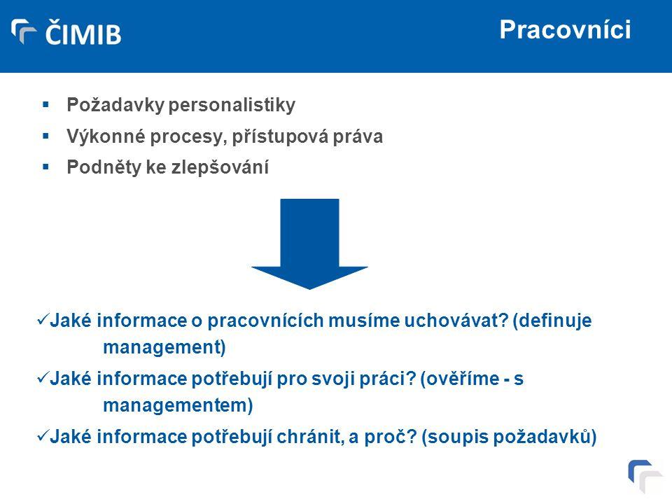 Pracovníci  Požadavky personalistiky  Výkonné procesy, přístupová práva  Podněty ke zlepšování Jaké informace o pracovnících musíme uchovávat? (def