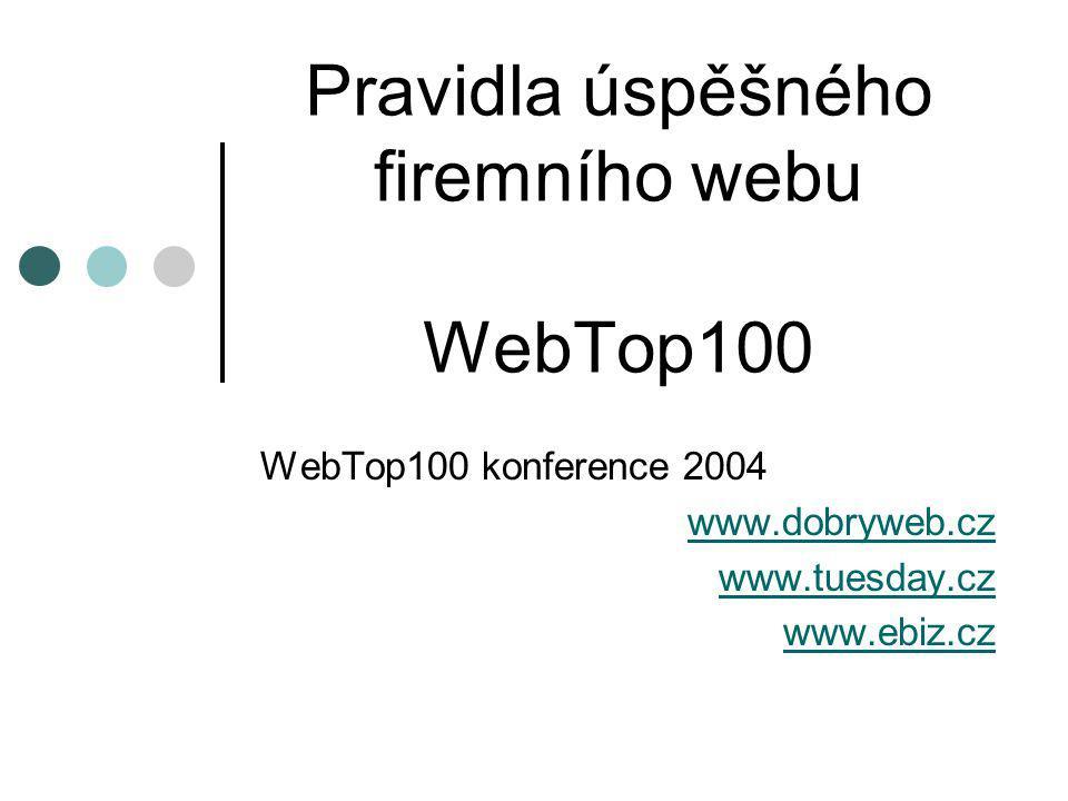 Pravidla úspěšného firemního webu WebTop100 WebTop100 konference 2004 www.dobryweb.cz www.tuesday.cz www.ebiz.cz
