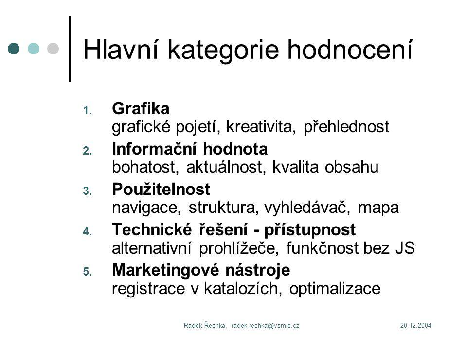 20.12.2004Radek Řechka, radek.rechka@vsmie.cz Hlavní kategorie hodnocení 1.