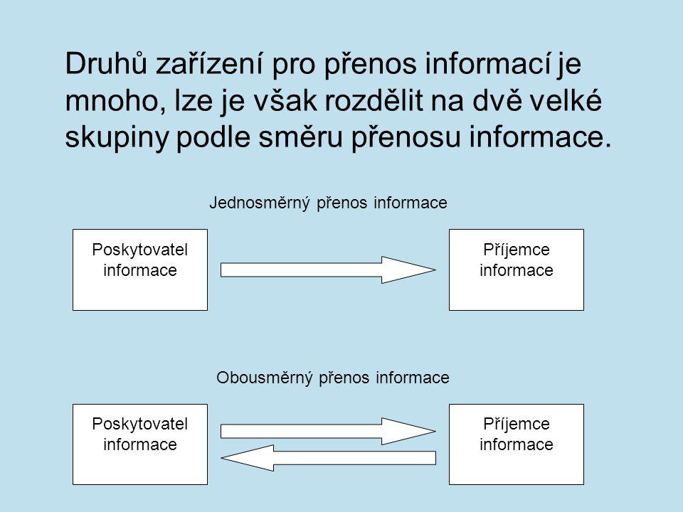 Druhů zařízení pro přenos informací je mnoho, lze je však rozdělit na dvě velké skupiny podle směru přenosu informace. Poskytovatel informace Příjemce