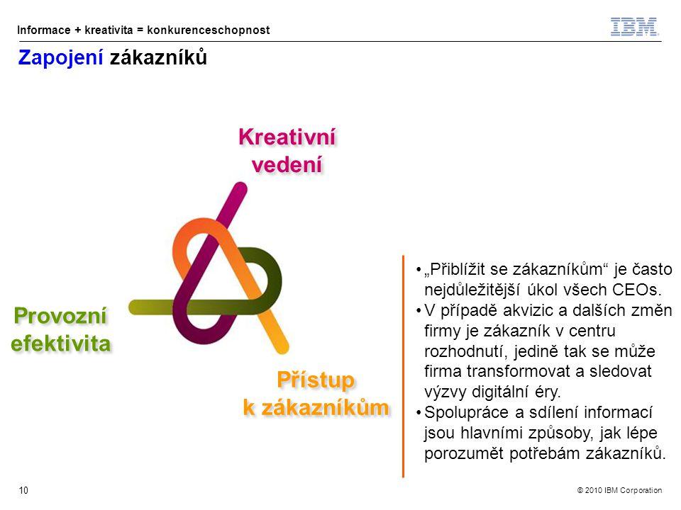"""© 2010 IBM Corporation Informace + kreativita = konkurenceschopnost Kreativní vedení Přístup k zákazníkům Přístup k zákazníkům Provozní efektivita Provozní efektivita 10 Zapojení zákazníků """"Přiblížit se zákazníkům je často nejdůležitější úkol všech CEOs."""