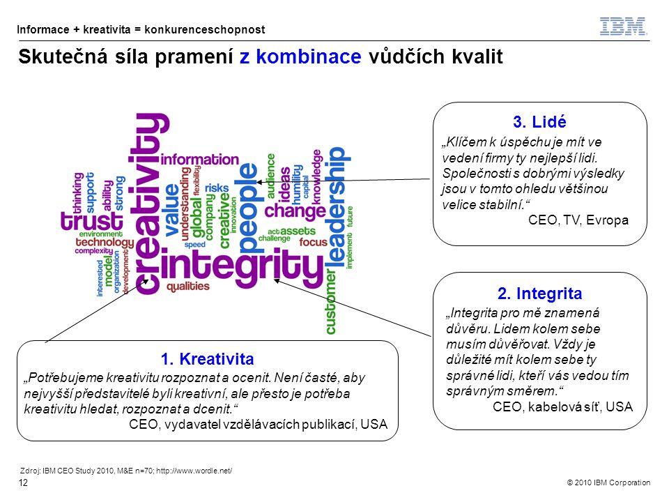 © 2010 IBM Corporation Informace + kreativita = konkurenceschopnost 12 Skutečná síla pramení z kombinace vůdčích kvalit Zdroj: IBM CEO Study 2010, M&E n=70; http://www.wordle.net/ 3.