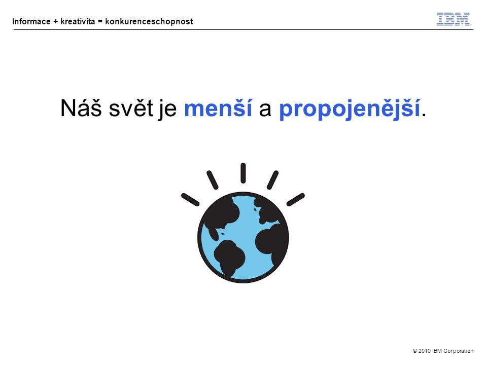 © 2010 IBM Corporation Informace + kreativita = konkurenceschopnost Náš svět je menší a propojenější.