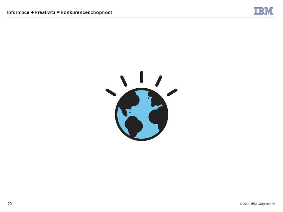 © 2010 IBM Corporation Informace + kreativita = konkurenceschopnost 20