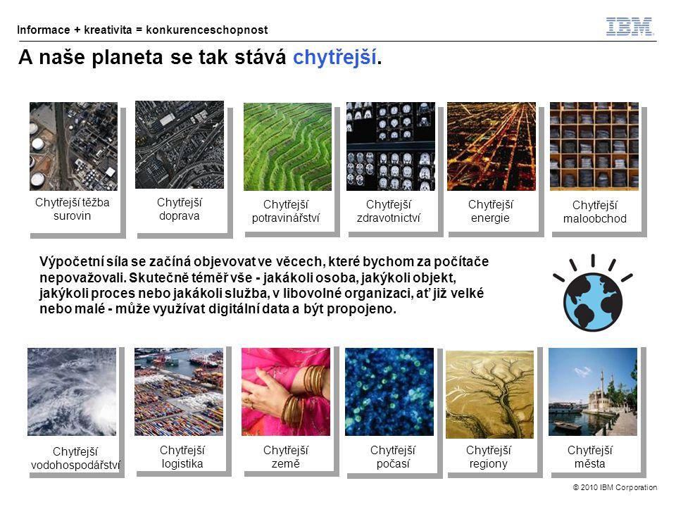 © 2010 IBM Corporation Informace + kreativita = konkurenceschopnost A naše planeta se tak stává chytřejší.