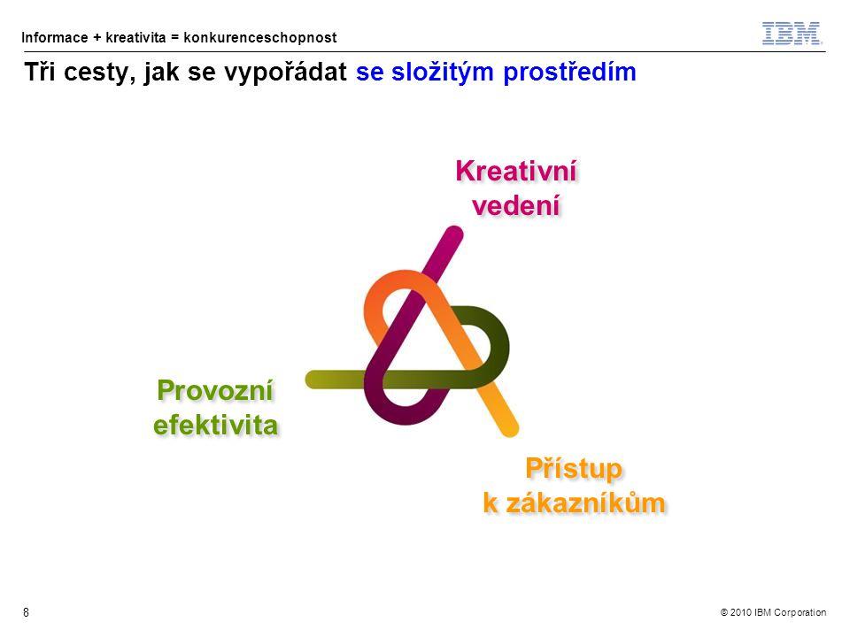 © 2010 IBM Corporation Informace + kreativita = konkurenceschopnost 8 Tři cesty, jak se vypořádat se složitým prostředím Kreativní vedení Přístup k zákazníkům Přístup k zákazníkům Provozní efektivita Provozní efektivita