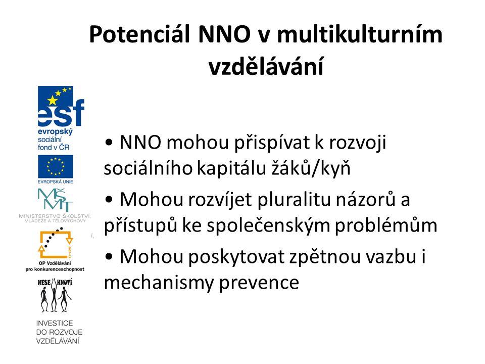 NNO mohou přispívat k rozvoji sociálního kapitálu žáků/kyň Mohou rozvíjet pluralitu názorů a přístupů ke společenským problémům Mohou poskytovat zpětn