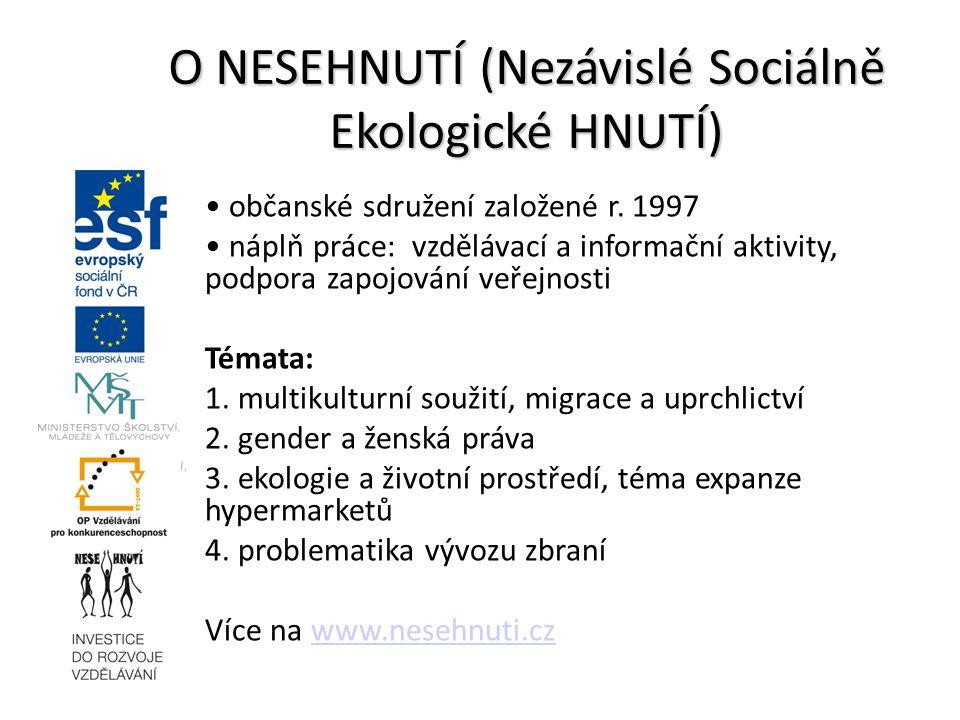 občanské sdružení založené r. 1997 náplň práce: vzdělávací a informační aktivity, podpora zapojování veřejnosti Témata: 1. multikulturní soužití, migr