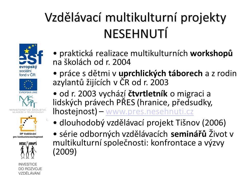 praktická realizace multikulturních workshopů na školách od r. 2004 práce s dětmi v uprchlických táborech a z rodin azylantů žijících v ČR od r. 2003