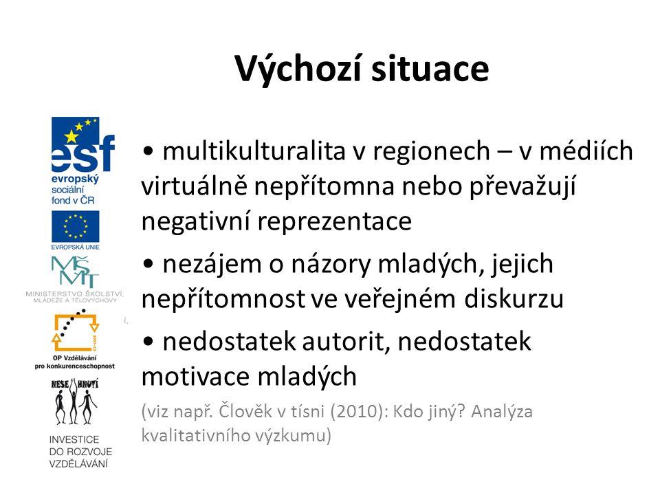 multikulturalita v regionech – v médiích virtuálně nepřítomna nebo převažují negativní reprezentace nezájem o názory mladých, jejich nepřítomnost ve v