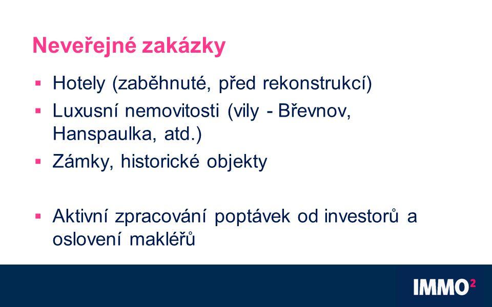 Neveřejné zakázky  Hotely (zaběhnuté, před rekonstrukcí)  Luxusní nemovitosti (vily - Břevnov, Hanspaulka, atd.)  Zámky, historické objekty  Aktivní zpracování poptávek od investorů a oslovení makléřů