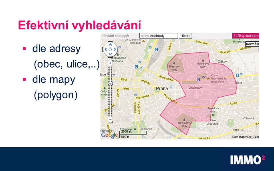 Efektivní vyhledávání  dle adresy (obec, ulice,..)  dle mapy (polygon)