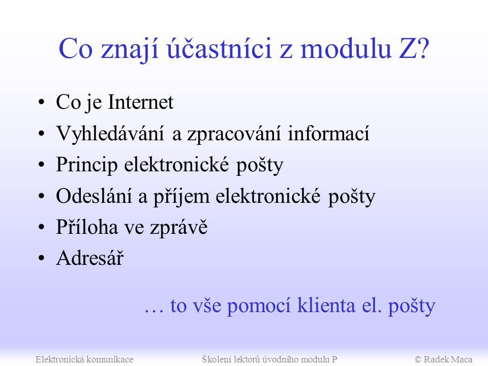 SIPVZ – úvodní modul P Elektronická komunikace metodické poznámky (3 h)
