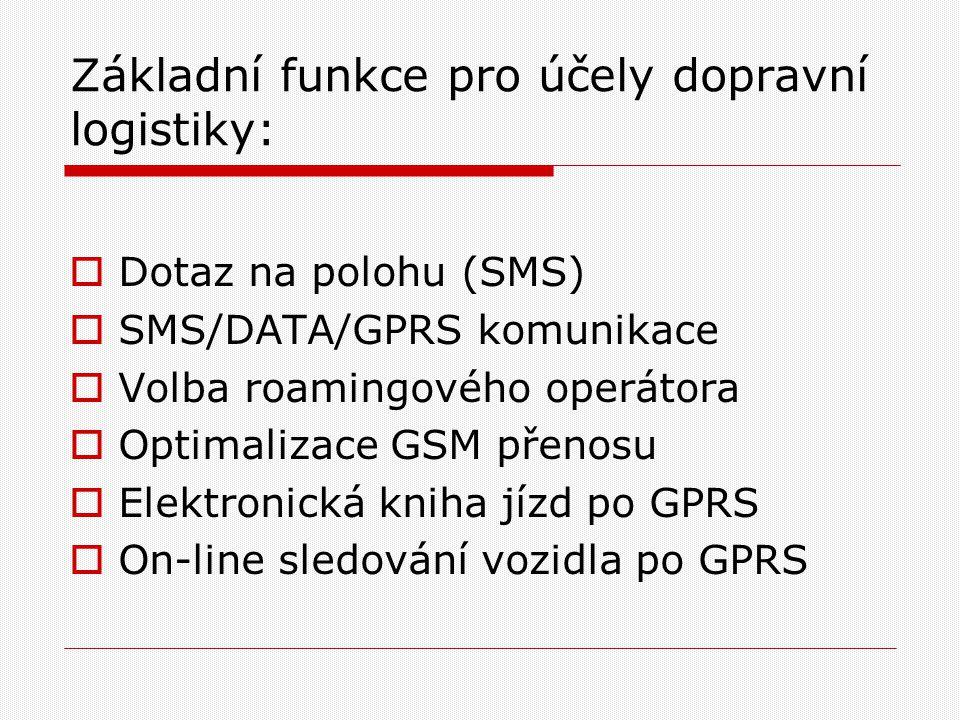 Základní funkce pro účely dopravní logistiky:  Dotaz na polohu (SMS)  SMS/DATA/GPRS komunikace  Volba roamingového operátora  Optimalizace GSM přenosu  Elektronická kniha jízd po GPRS  On-line sledování vozidla po GPRS