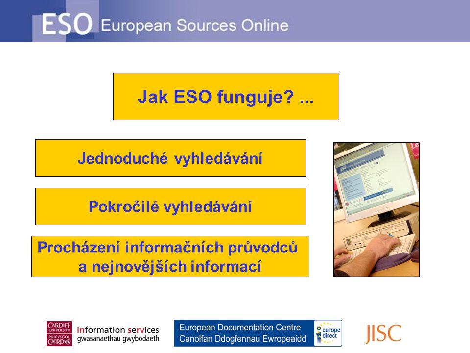 Jednoduché vyhledávání Pokročilé vyhledávání Procházení informačních průvodců a nejnovějších informací Jak ESO funguje?...