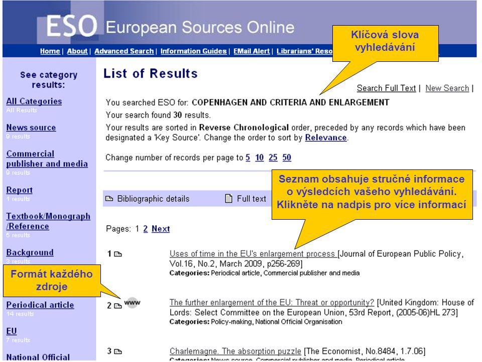 Number of results Formát každého zdroje Klíčová slova vyhledávání Seznam obsahuje stručné informace o výsledcích vašeho vyhledávání.