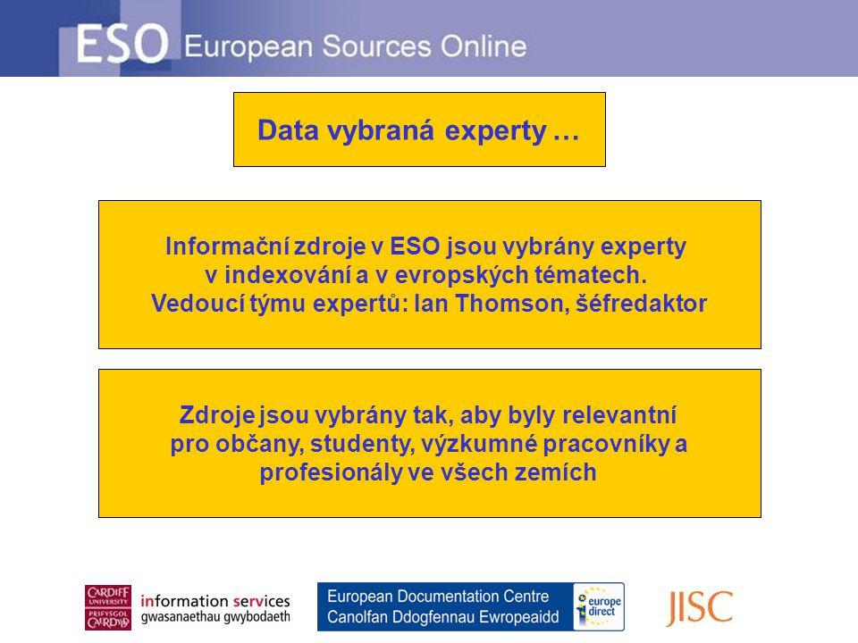 Data vybraná experty … Informační zdroje v ESO jsou vybrány experty v indexování a v evropských tématech.