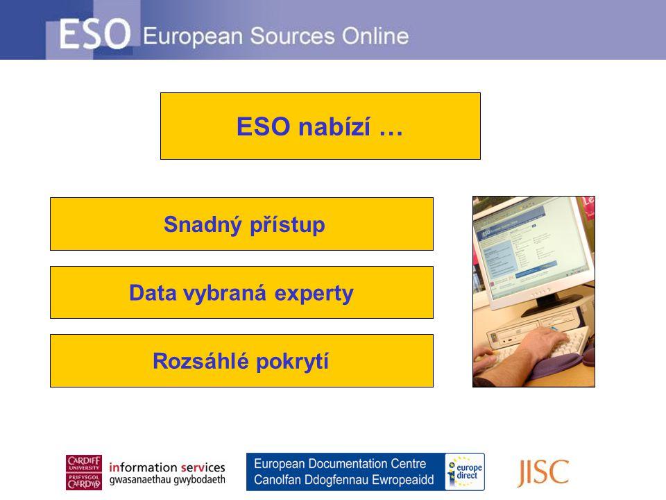 Snadný přístup Data vybraná experty Rozsáhlé pokrytí ESO nabízí …