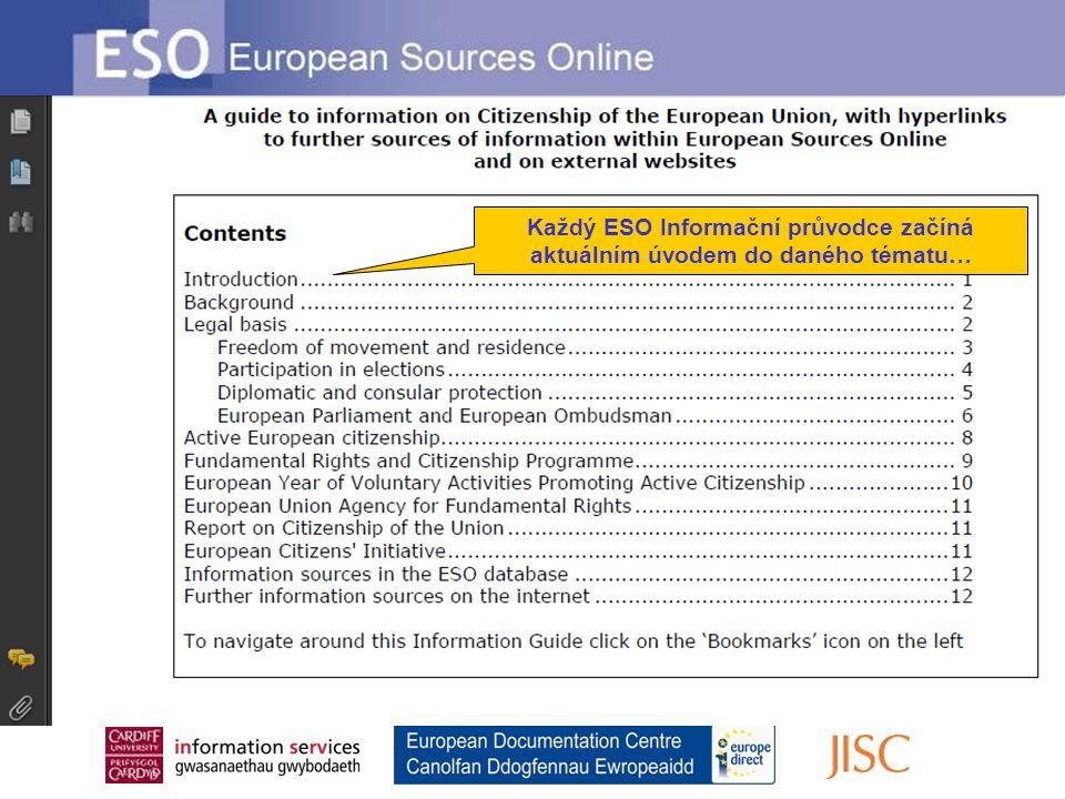 Každý ESO Informační průvodce začíná aktuálním úvodem do daného tématu…