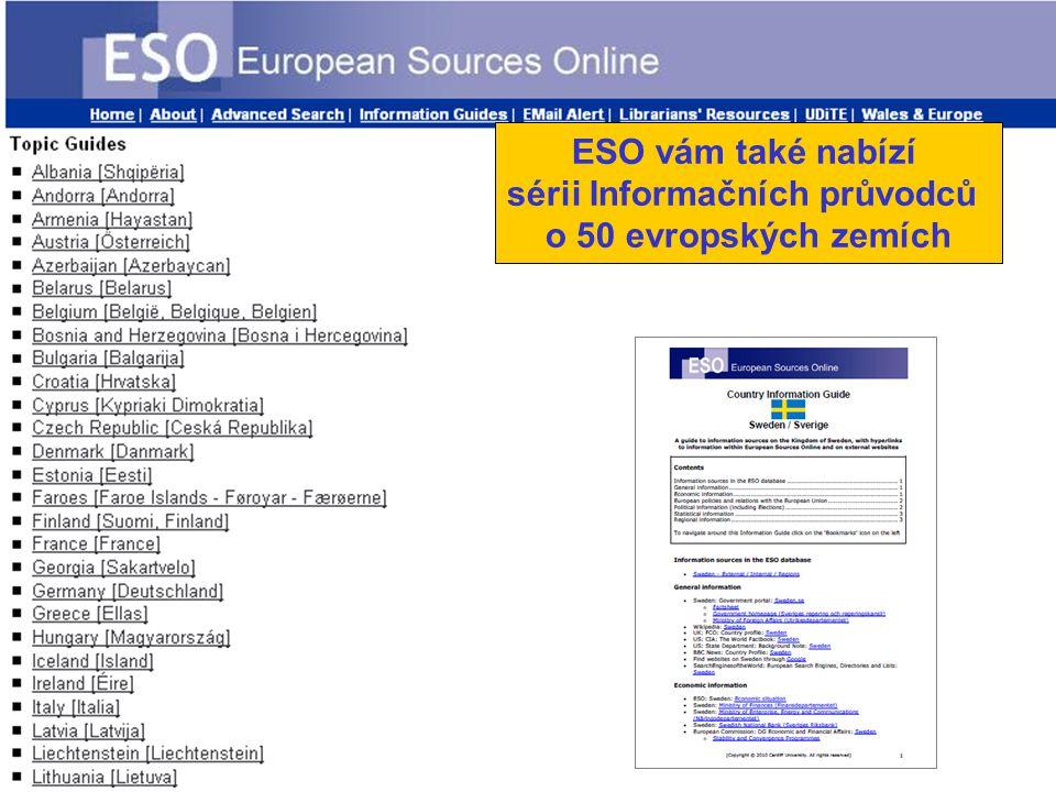 ESO vám také nabízí sérii Informačních průvodců o 50 evropských zemích