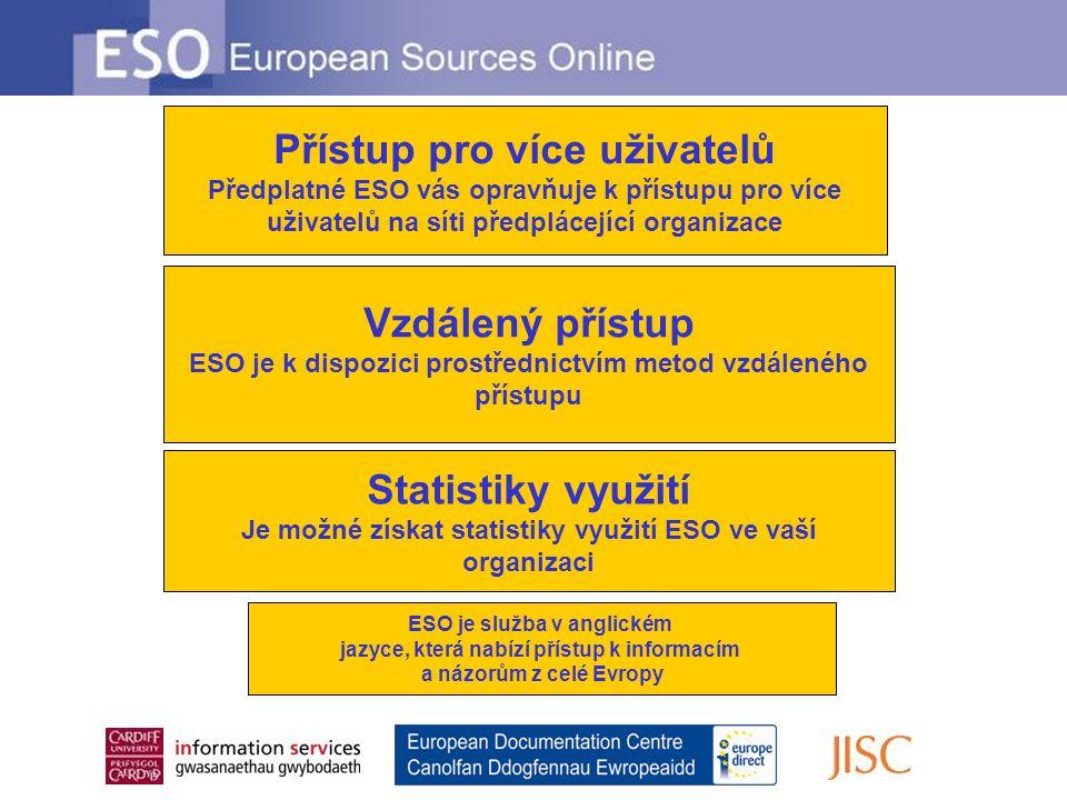 Vzdálený přístup ESO je k dispozici prostřednictvím metod vzdáleného přístupu Přístup pro více uživatelů Předplatné ESO vás opravňuje k přístupu pro více uživatelů na síti předplácející organizace Statistiky využití Je možné získat statistiky využití ESO ve vaší organizaci ESO je služba v anglickém jazyce, která nabízí přístup k informacím a názorům z celé Evropy