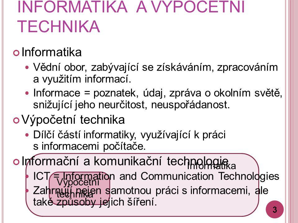 Informatika INFORMATIKA A VÝPOČETNÍ TECHNIKA Výpočetní technika Informatika Vědní obor, zabývající se získáváním, zpracováním a využitím informací.