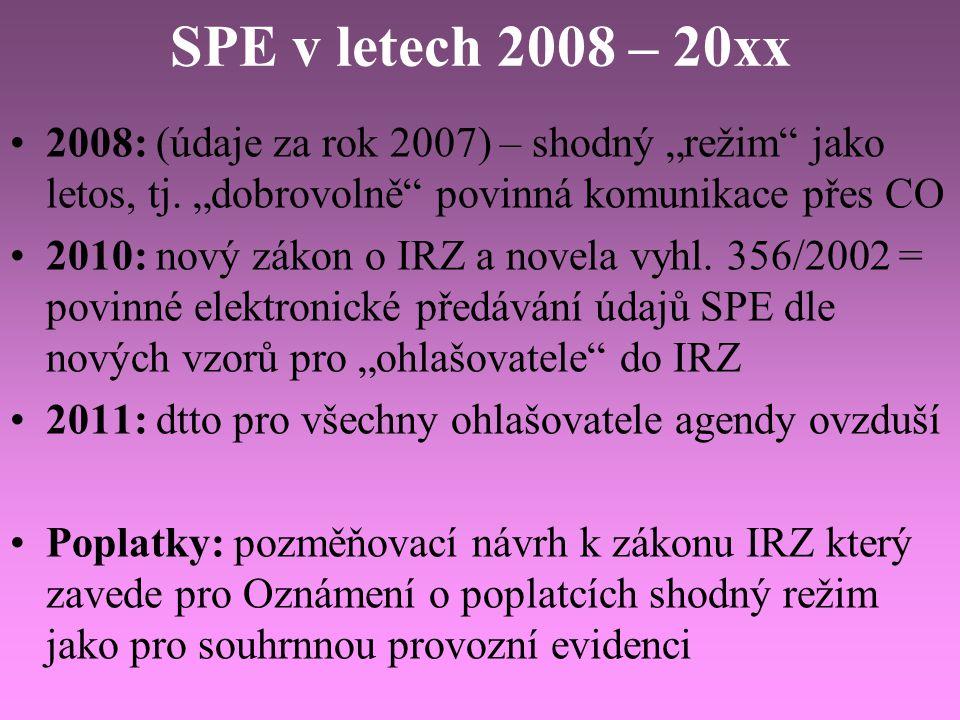 """SPE v letech 2008 – 20xx 2008: (údaje za rok 2007) – shodný """"režim"""" jako letos, tj. """"dobrovolně"""" povinná komunikace přes CO 2010: nový zákon o IRZ a n"""
