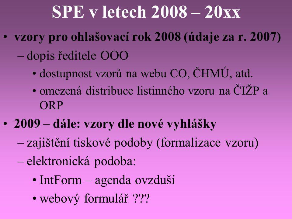 SPE v letech 2008 – 20xx vzory pro ohlašovací rok 2008 (údaje za r. 2007) –dopis ředitele OOO dostupnost vzorů na webu CO, ČHMÚ, atd. omezená distribu