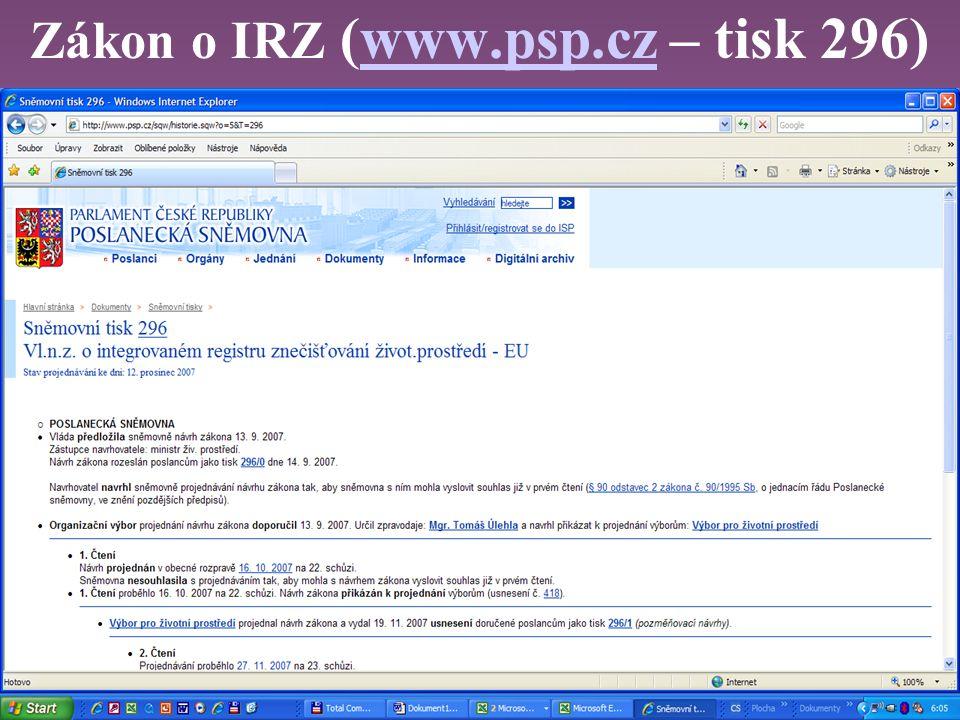 Zákon o IRZ (www.psp.cz – tisk 296)www.psp.cz