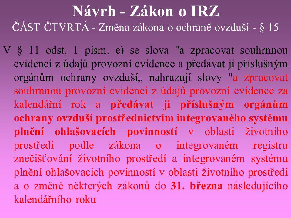 Návrh - Zákon o IRZ ČÁST ČTVRTÁ - Změna zákona o ochraně ovzduší - § 15 V § 11 odst. 1 písm. e) se slova