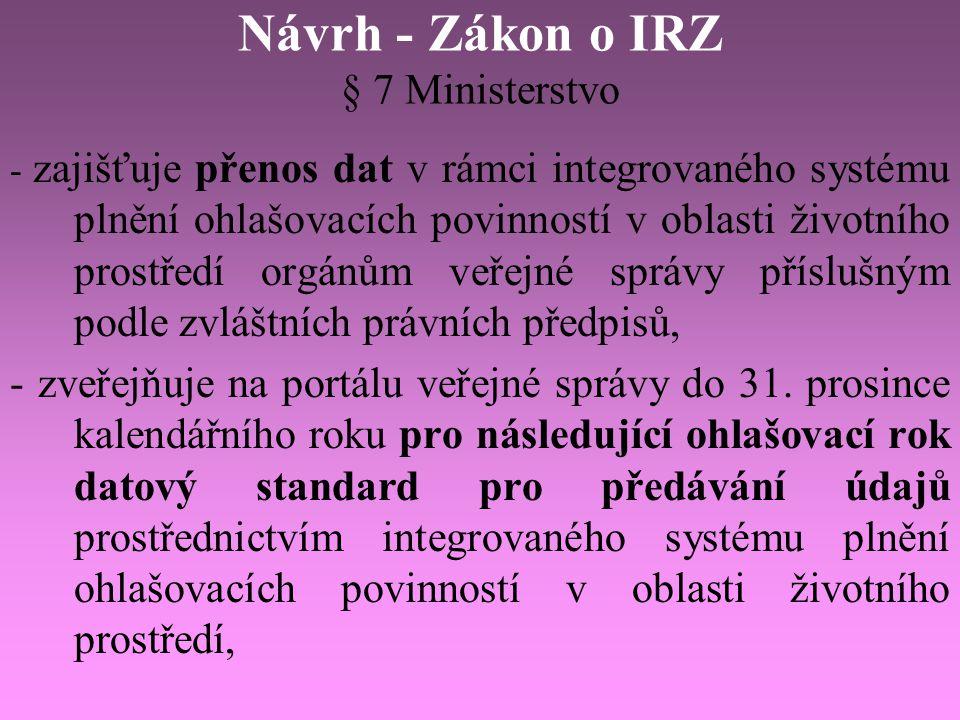 Návrh - Zákon o IRZ § 7 Ministerstvo - zajišťuje přenos dat v rámci integrovaného systému plnění ohlašovacích povinností v oblasti životního prostředí