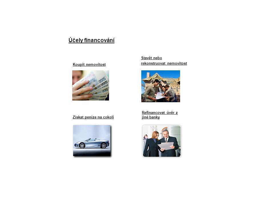 Účely financování Koupit nemovitost Získat peníze na cokoli Stavět nebo rekonstruovat nemovitost Refinancovat úvěr z jiné banky