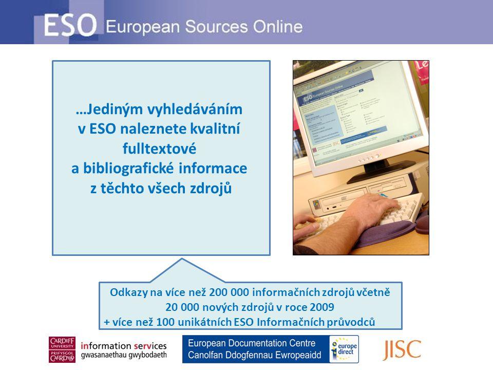 …Jediným vyhledáváním v ESO naleznete kvalitní fulltextové a bibliografické informace z těchto všech zdrojů Odkazy na více než 200 000 informačních zdrojů včetně 20 000 nových zdrojů v roce 2009 + více než 100 unikátních ESO Informačních průvodců