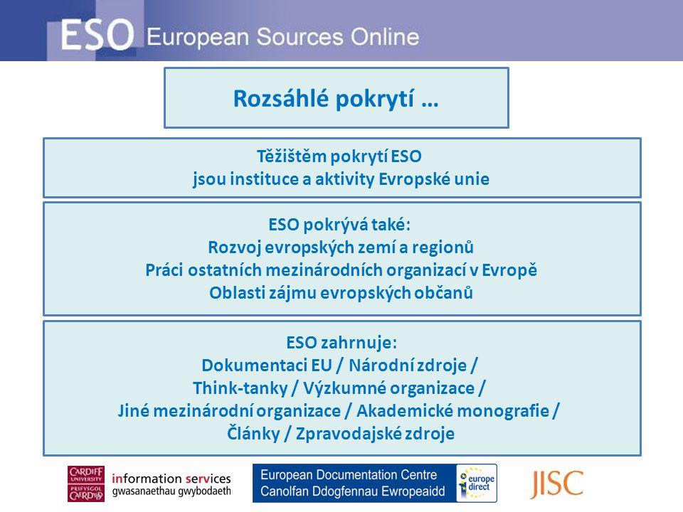 Rozsáhlé pokrytí … Těžištěm pokrytí ESO jsou instituce a aktivity Evropské unie ESO pokrývá také: Rozvoj evropských zemí a regionů Práci ostatních mezinárodních organizací v Evropě Oblasti zájmu evropských občanů ESO zahrnuje: Dokumentaci EU / Národní zdroje / Think-tanky / Výzkumné organizace / Jiné mezinárodní organizace / Akademické monografie / Články / Zpravodajské zdroje