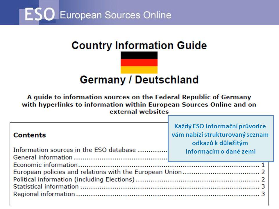 Každý ESO Informační průvodce vám nabízí strukturovaný seznam odkazů k důležitým informacím o dané zemi