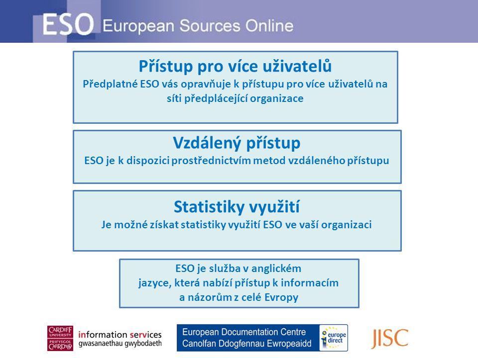 Vzdálený přístup ESO je k dispozici prostřednictvím metod vzdáleného přístupu Přístup pro více uživatelů Předplatné ESO vás opravňuje k přístupu pro v