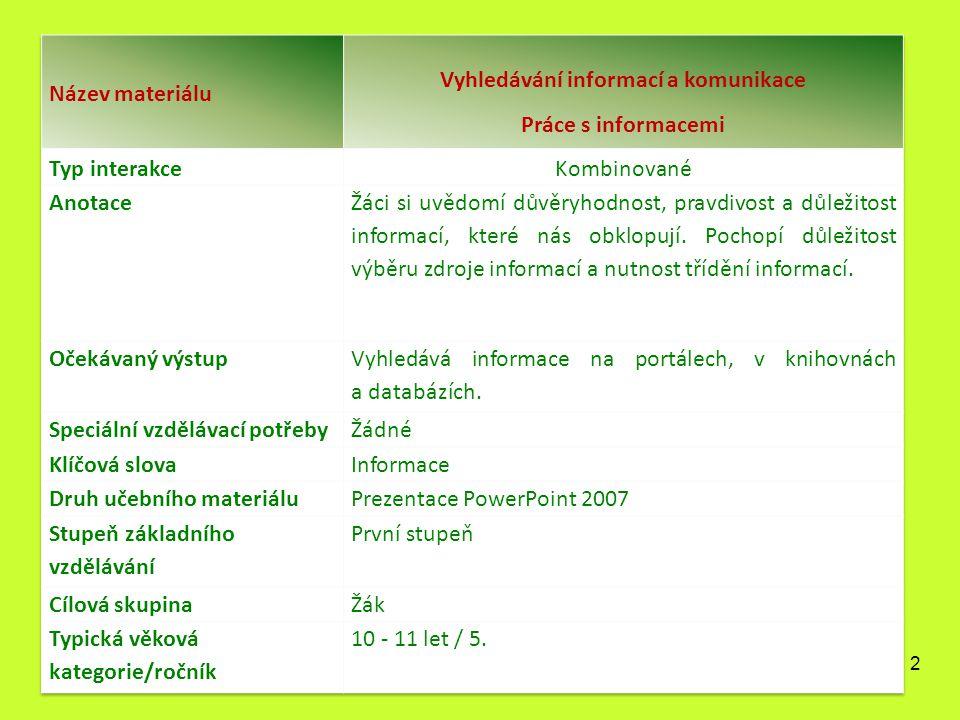 Práce s informacemi Autorem materiálu a všech jeho částí, pokud není uvedeno jinak, je Mgr.