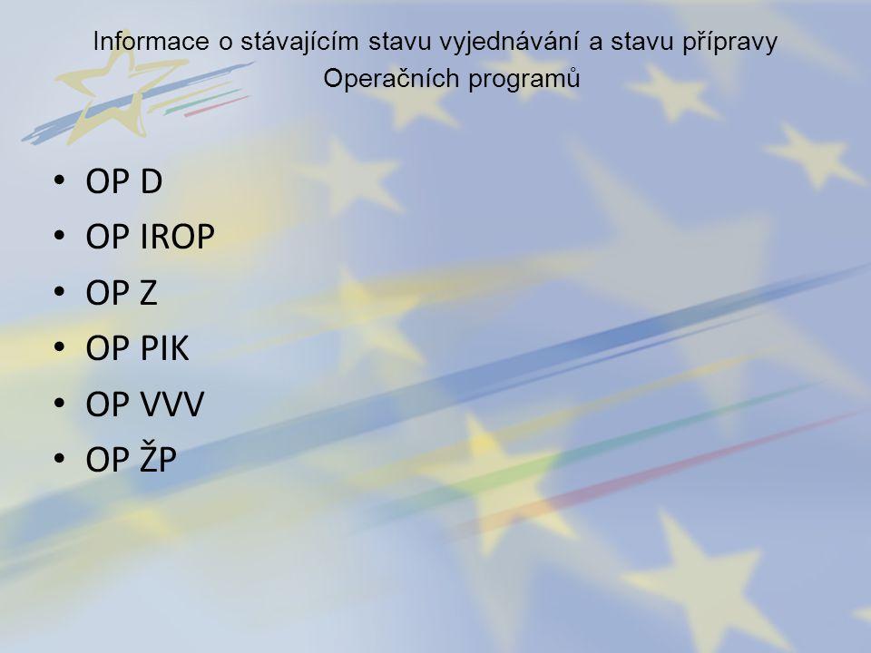 Informace o stávajícím stavu vyjednávání a stavu přípravy Operačních programů OP D OP IROP OP Z OP PIK OP VVV OP ŽP