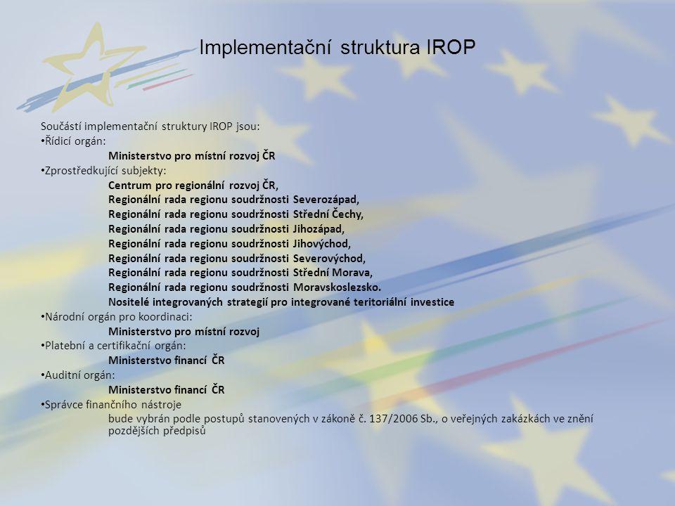 Implementační struktura IROP Součástí implementační struktury IROP jsou: Řídicí orgán: Ministerstvo pro místní rozvoj ČR Zprostředkující subjekty: Cen