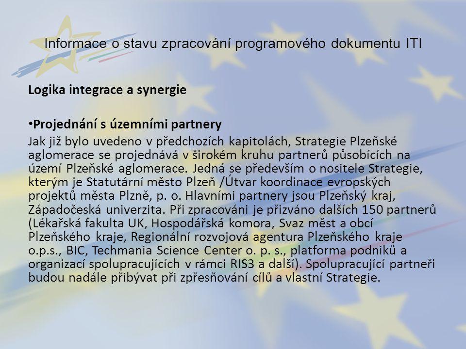 Informace o stavu zpracování programového dokumentu ITI Logika integrace a synergie Projednání s územními partnery Jak již bylo uvedeno v předchozích
