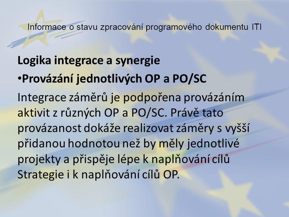 Informace o stavu zpracování programového dokumentu ITI Logika integrace a synergie Provázání jednotlivých OP a PO/SC Integrace záměrů je podpořena pr