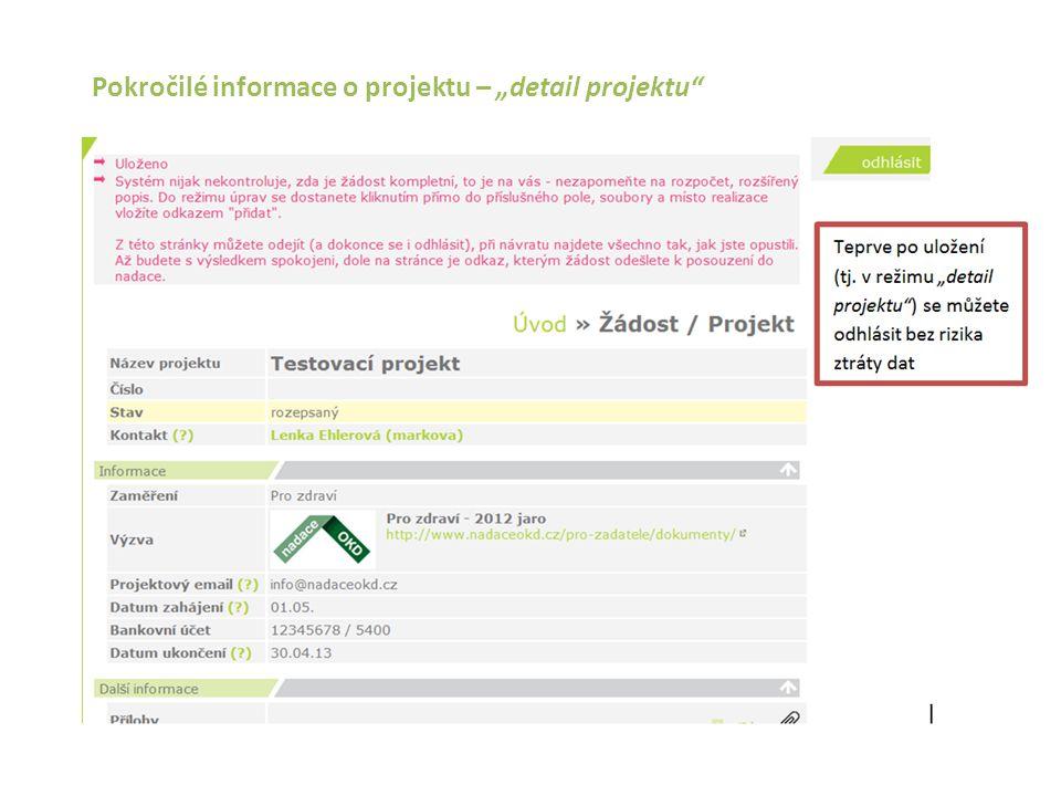 """Pokročilé informace o projektu – """"detail projektu"""