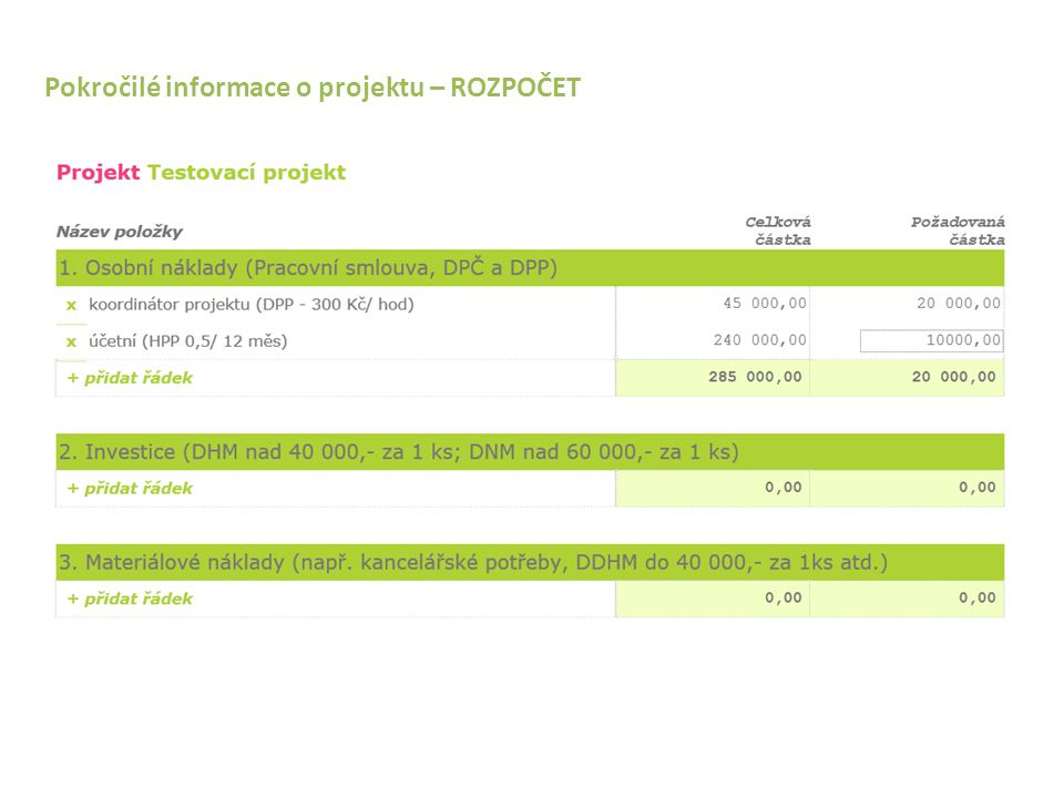 """Pokročilé informace o projektu – """"detail projektu – ROZPOČET"""