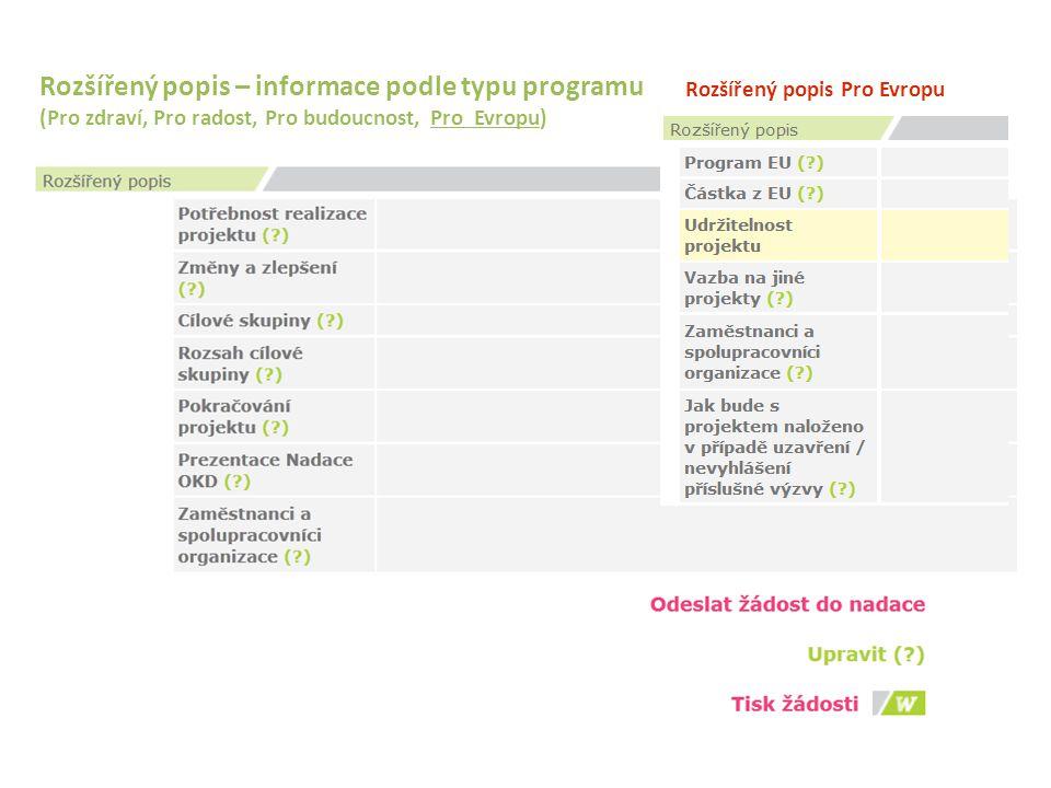 Rozšířený popis – informace podle typu programu (Pro zdraví, Pro radost, Pro budoucnost, Pro Evropu) Rozšířený popis Pro Evropu
