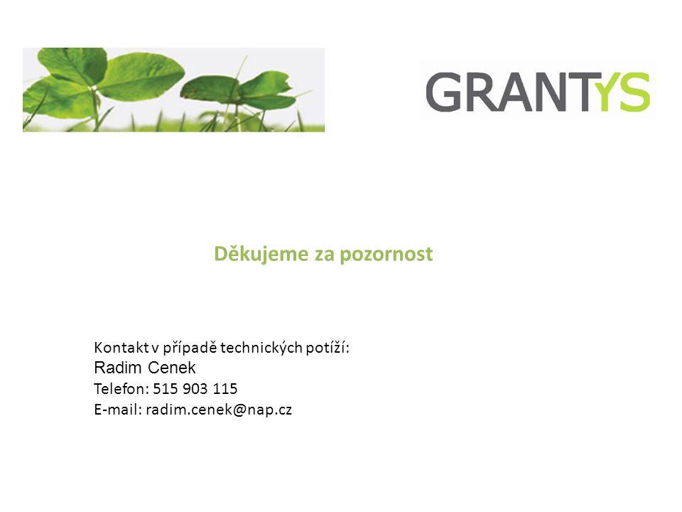 Děkujeme za pozornost Kontakt v případě technických potíží: Radim Cenek Telefon: 515 903 115 E-mail: radim.cenek@nap.cz