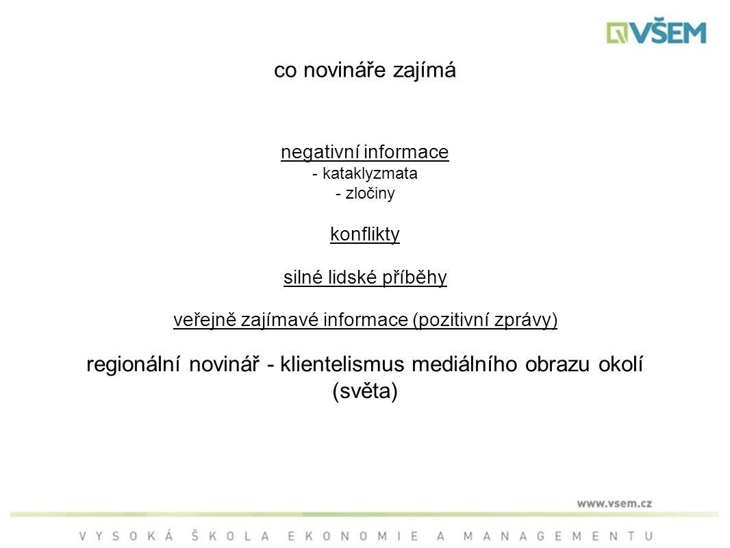negativní informace - kataklyzmata - zločiny konflikty silné lidské příběhy veřejně zajímavé informace (pozitivní zprávy) regionální novinář - klientelismus mediálního obrazu okolí (světa) co novináře zajímá