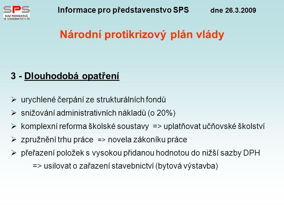 Informace pro představenstvo SPS dne 26.3.2009 Národní protikrizový plán vlády 3 - Dlouhodobá opatření  urychlené čerpání ze strukturálních fondů  snižování administrativních nákladů (o 20%)  komplexní reforma školské soustavy => uplatňovat učňovské školství  zpružnění trhu práce => novela zákoníku práce  přeřazení položek s vysokou přidanou hodnotou do nižší sazby DPH => usilovat o zařazení stavebnictví (bytová výstavba)