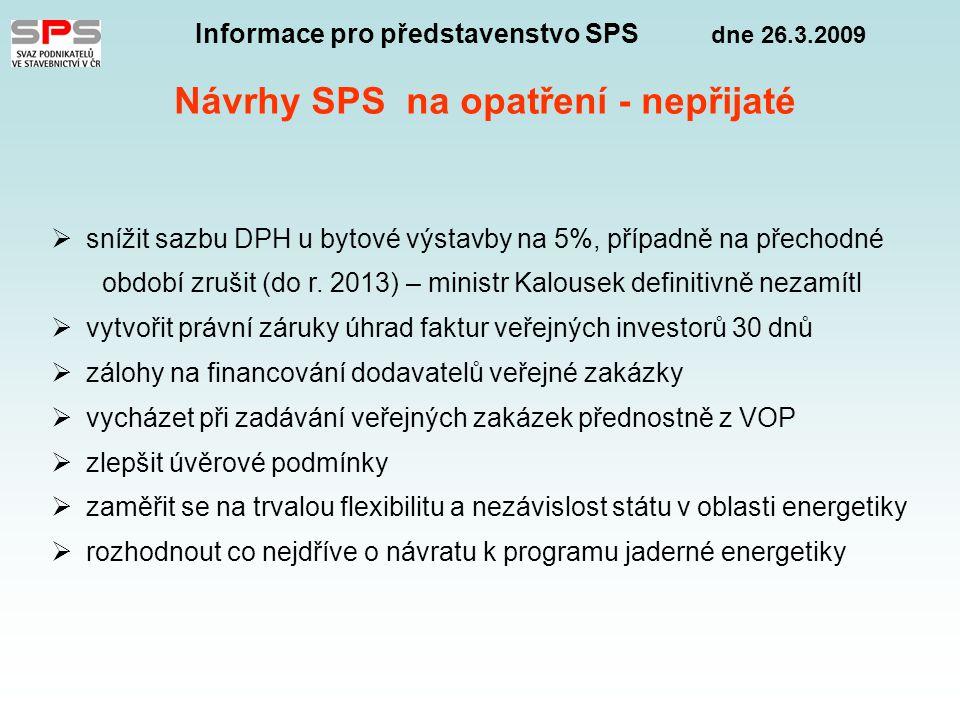 Informace pro představenstvo SPS dne 26.3.2009 Návrhy SPS na opatření - nepřijaté  snížit sazbu DPH u bytové výstavby na 5%, případně na přechodné období zrušit (do r.