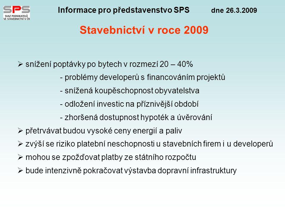 Informace pro představenstvo SPS dne 26.3.2009 Stavebnictví v roce 2009  snížení poptávky po bytech v rozmezí 20 – 40% - problémy developerů s financováním projektů - snížená koupěschopnost obyvatelstva - odložení investic na příznivější období - zhoršená dostupnost hypoték a úvěrování  přetrvávat budou vysoké ceny energií a paliv  zvýší se riziko platební neschopnosti u stavebních firem i u developerů  mohou se zpožďovat platby ze státního rozpočtu  bude intenzivně pokračovat výstavba dopravní infrastruktury