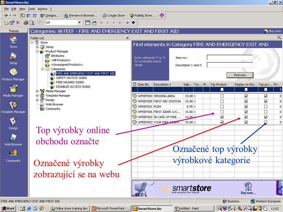 Top výrobky online obchodu označte Označené výrobky zobrazující se na webu Označené top výrobky výrobkové kategorie
